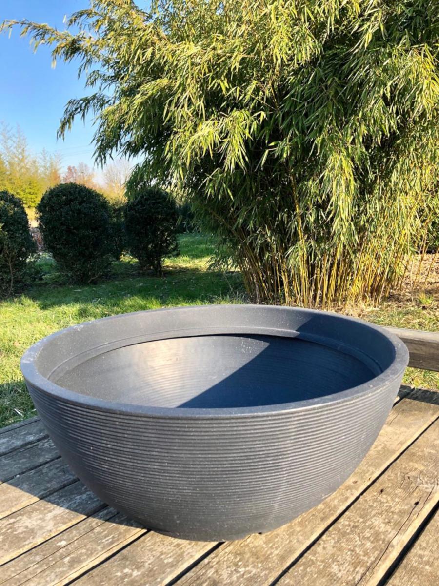 Mini Laghetto Per Terrazzo vasca diam. 80x32h cm color antracite completa di piante